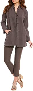 Eileen Fisher Rye Cotton/Tencel Stand Collar Long Jacket Size M/M MSRP $298