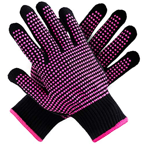 Teenitor 2 Pcs Heat Resistant Gloves with Silicone Bumps, (New Upgraded ) Professional Heat Proof Glove Mitts for Hair Styling Curling Iron Wand Flat Iron Hot-Air Brushes, Universal Fit Size