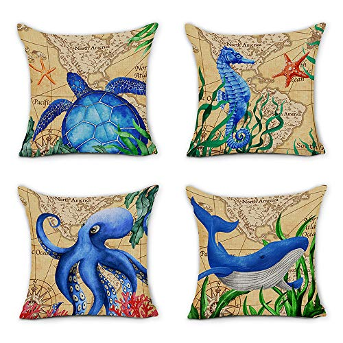 Piñata Ocean - Juego de 4 fundas de almohada decorativas para sofá, silla, coche, casa, 45,7 x 45,7 cm