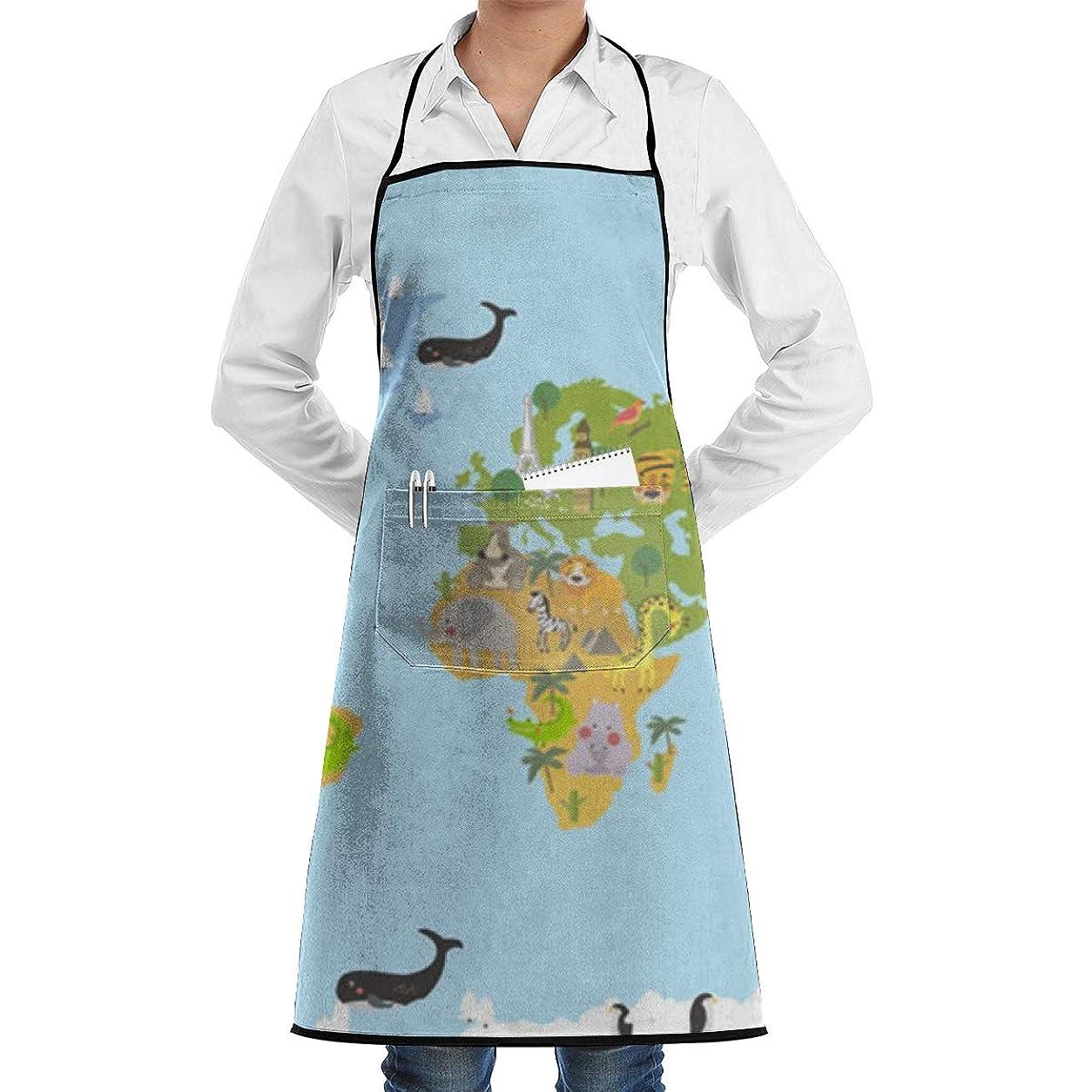 コンクリート貴重なベックスAnimal Word Map エプロン カフェエプロン ビブエプロン キッチンエプロン 花柄?胸当て 前掛け 腰巻 H型 ロング キッチン カフェ 飲食店 保育士 男女兼用 シンプル かわいい おしゃれ 人気 北欧