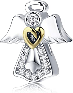 Angel Wing Heart Shape Charm Gold Plated Bead Charms for Pandora Charms Bracelet Necklace (Angel Wing Charm)