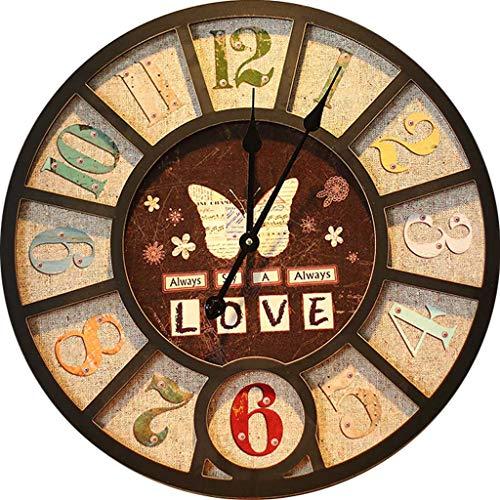 Kreative Vintage Wanduhr, Digitale Runde Industrie-Stil stumm dekorative Uhr, geeignet für Wohnzimmer, Schlafzimmer, Bar (Durchmesser 58 cm)
