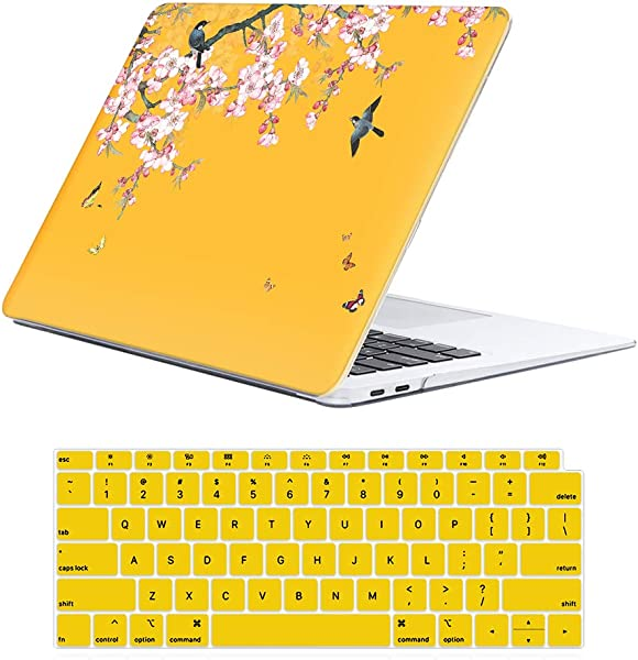 ILeadon MacBook Air 13 Inch Case 2018 Release A1932 Soft Touch Ultra Thin Hard Shell Cover For Apple Newest MacBook Air 13 Inch With Retina Display Fits Touch ID Chinese Flower Birds