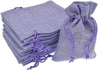 Bezall 20pcs Drawstring Burlap Jute Sacks Jewelry Candy Pouch Christmas Wedding Party Favor Gift Bags (Light Purple, 3.9 x 5.5