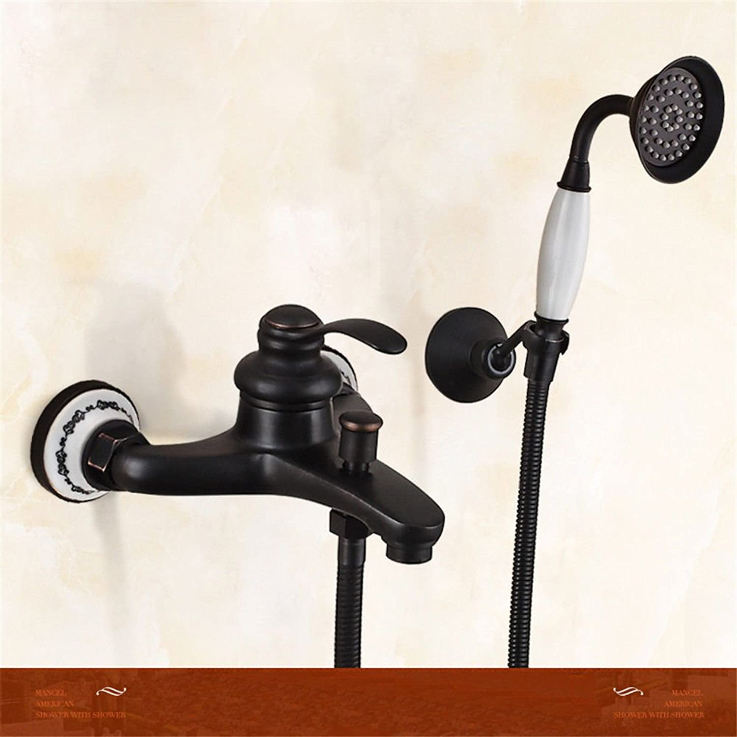 AQMMi Basin Taps Bathroom Sink Faucet Black Shower Set Brass Retro Handheld Shower Wall-Mounted Bathtub Single Lever Bathroom Sink Faucet Basin Mixer Tap
