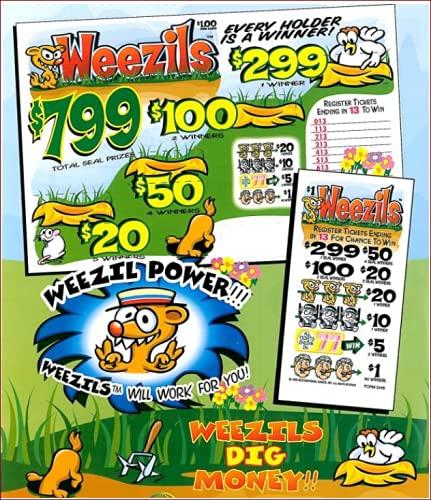 Bingo Pull Tabs - Seal Cards/Holders - Weezils - 1200 Count