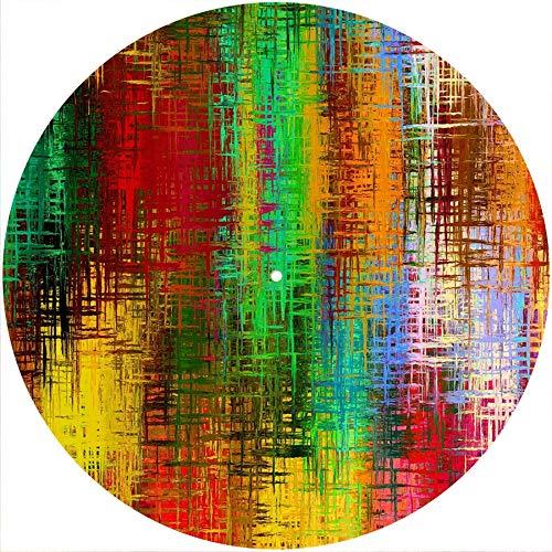 Slipmat Rutschmatte/Kratzmatte aus Filz für jeden 30,5 cm LP DJ Vinyl Plattenspieler Custom Graphisch – bunte Störungen