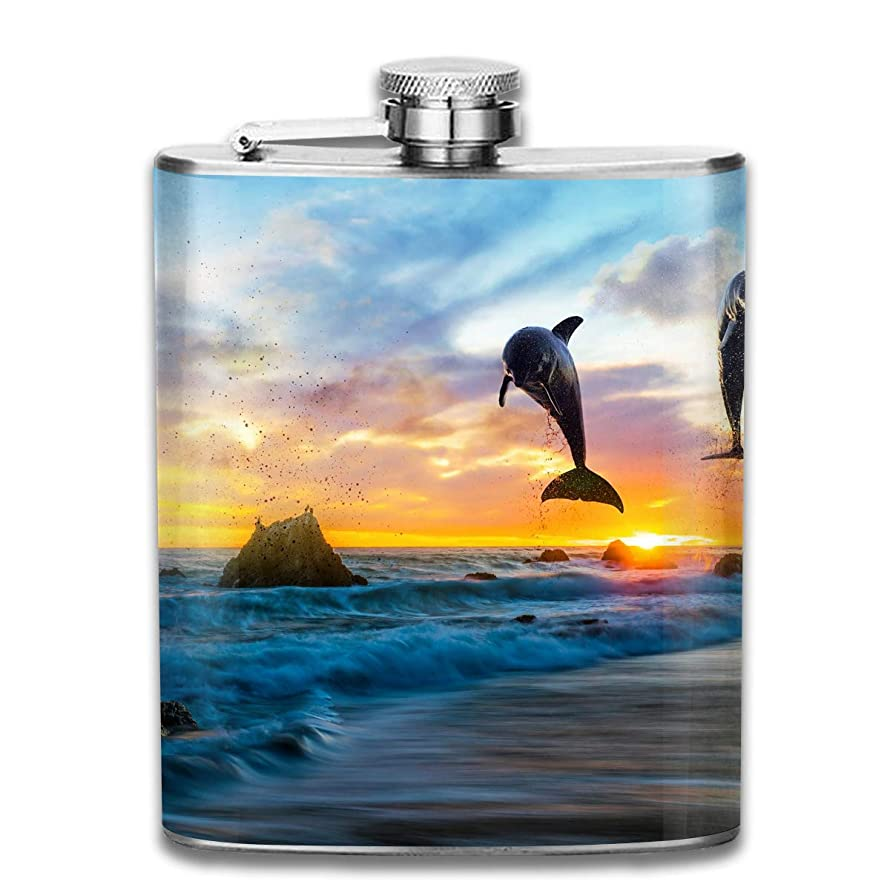 Flask1 Stainless Steel Hip Flask Sunset Wine Bottle Whiskey Container Flask Pocket for Adults