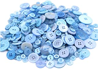 600+ Pcs Assorted Size Resin Buttons Craft Buttons, 2 and 4 Holes Round Craft Sewing Buttons for Art & Crafts Projects DIY Decoration, DIY Crafts Children`s Manual Button Painting (Blue)