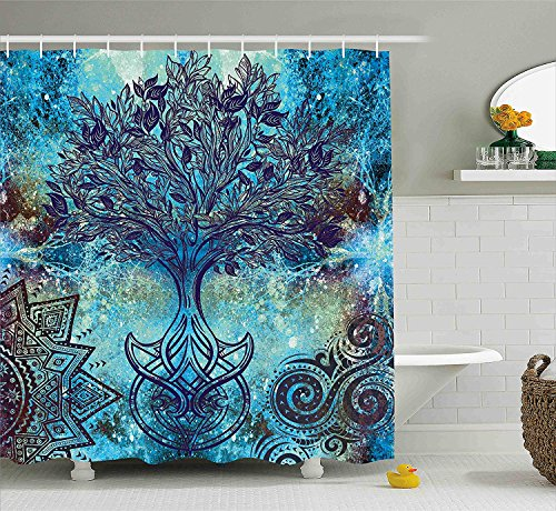 Outer Space Decor Shower Curtain by, Universe Abstract Nebula Galaxy Chakra Infinity Psychedelic Photography Print, Polyester Bathroom Set with Hooks, 60 x 72 inches, Multicolor