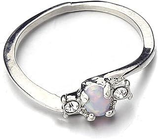 Yuanhua خواتم حجر الراين البسيطة للنساء، خاتم الذكرى السنوية حجر الراين، هدايا المجوهرات للنساء، 16.5 مم