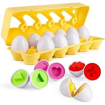 モンテッソーリ おもちゃ パズル - Sendida イースター 12 卵 知育玩具 幼児 おもちゃ ブロックおもちゃ 12カラーシェイプ マッチングエッグセット はめこみ 形合わせ 1 2 歳 学習玩具 (卵12個)