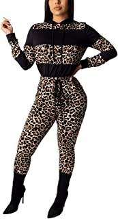 KAIXLIONLY Sweatsuits for Women Leopard Patchwork Crop Tops + Pants Activewear 2 Piece Tracksuit Outfits