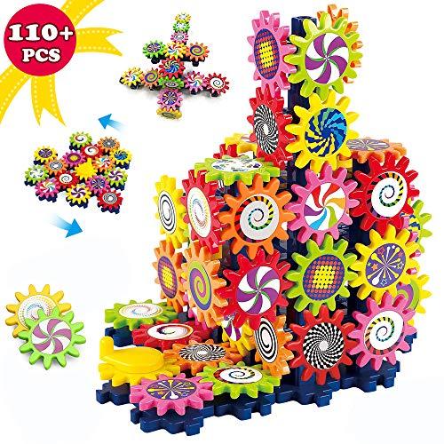LUKAT Bausteine Spielzeug für 3 4 5 6 7+ Jahre/Mädchen/Jungen/Kinder, 110 Stück DIY Kreative Gears Spiele Pädagogische Lernspielzeug STEM Lernblöcke Bunte Formen Puzzle Spiele Geschenk für Kinder