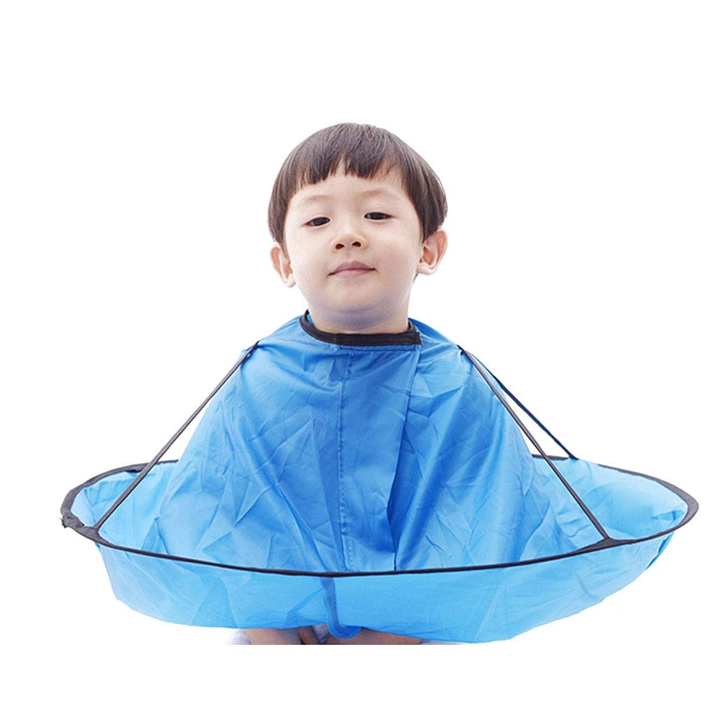 キロメートル破壊する卵子供 散髪ケープ ヘアエプロン 散髪マント 刈布 ケープ 散髪道具 防水 (青)