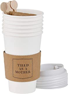 Santa Barbara Design Studio Face Paper Coffee Cups with Lids, Stirrers, and Drink Sleeves, 6-Count, 16-Ounces, Mother