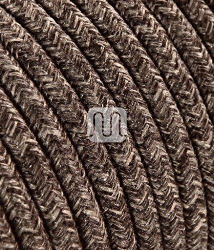 Cavo elettrico tondo rotondo rivestito in tessuto colorato Filato Grezzo Canvas Lino Marrone 2x0,75 per lampadari, lampade, abat jour, design. Made in Italy!