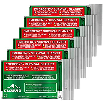 CLUSAZ® 6 Couvertures de Survie Vert Olive XL (210 x 160cm) - Retient 90% de la Chaleur, Imperméable, Coupe-Vent, Parfait pour Le Ski, Marathon, Camping, Trousse de Secours, Kit de Survie - Garantie