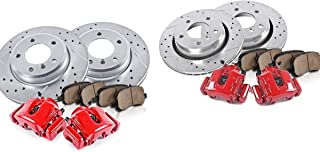 CCK11765 FRONT + REAR Powder Coated Red [4] Calipers + [4] Rotors + Quiet Low Dust [8] Ceramic Pads Performance Kit