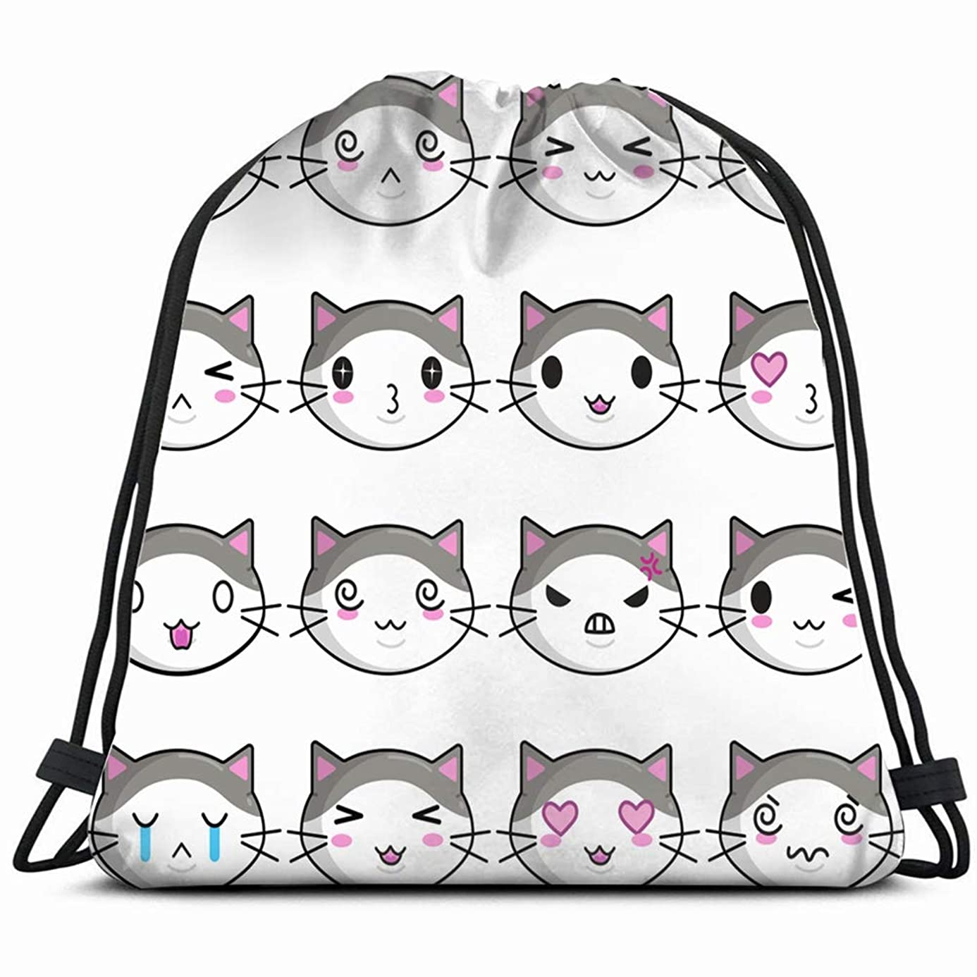 cute kawai cat design posters prints animals wildlife anger signs symbols Drawstring Backpack Gym Sack Lightweight Bag Water Resistant Gym Backpack for Women&Men for Sports,Travelling,Hiking,Camping,S