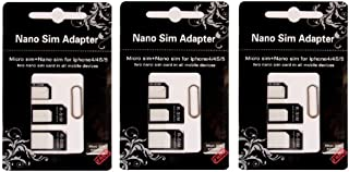 River Eletronic Set of 3 Nano Sim Adapter and Micro Sim Adapter and Nano to Micro Adapter with a Sim Card Folder and a Needle Three pack
