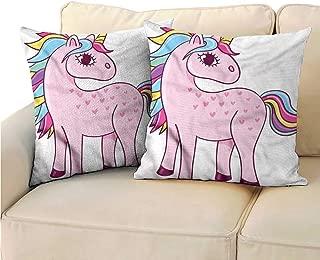 RuppertTextile Kawaii Customized Pillowcase Unicorn Rainbow and Unicorn Soft and Durable W17 x L17