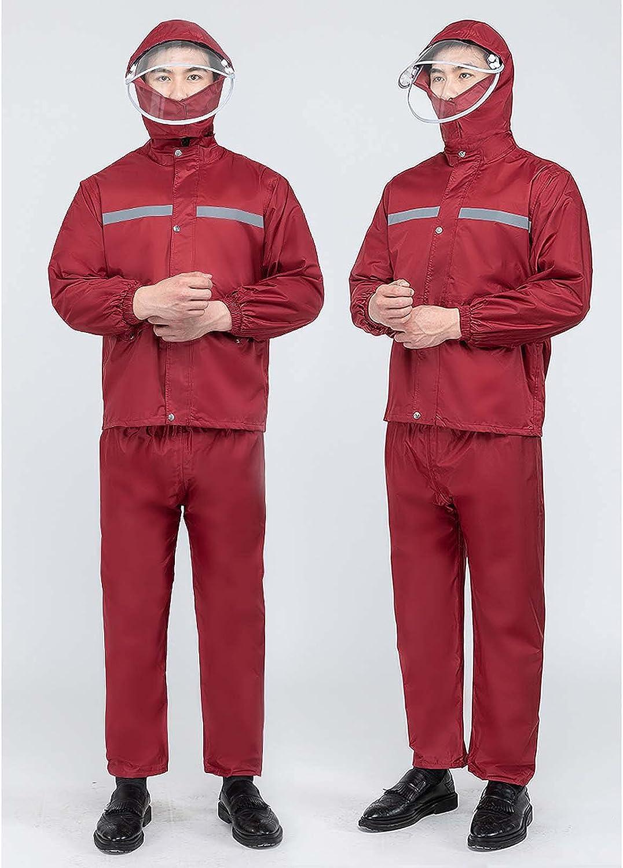 FHGH Double-Layer Commuter Split Raincoat, Thickened Reflective Men's Raincoat Set, Detachable Double Brim,C,Large