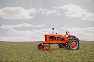 Vintage Allis Chalmers Orange Tractor in Field Photo Photograph Cool Wall Decor Art Print Poster 36x24
