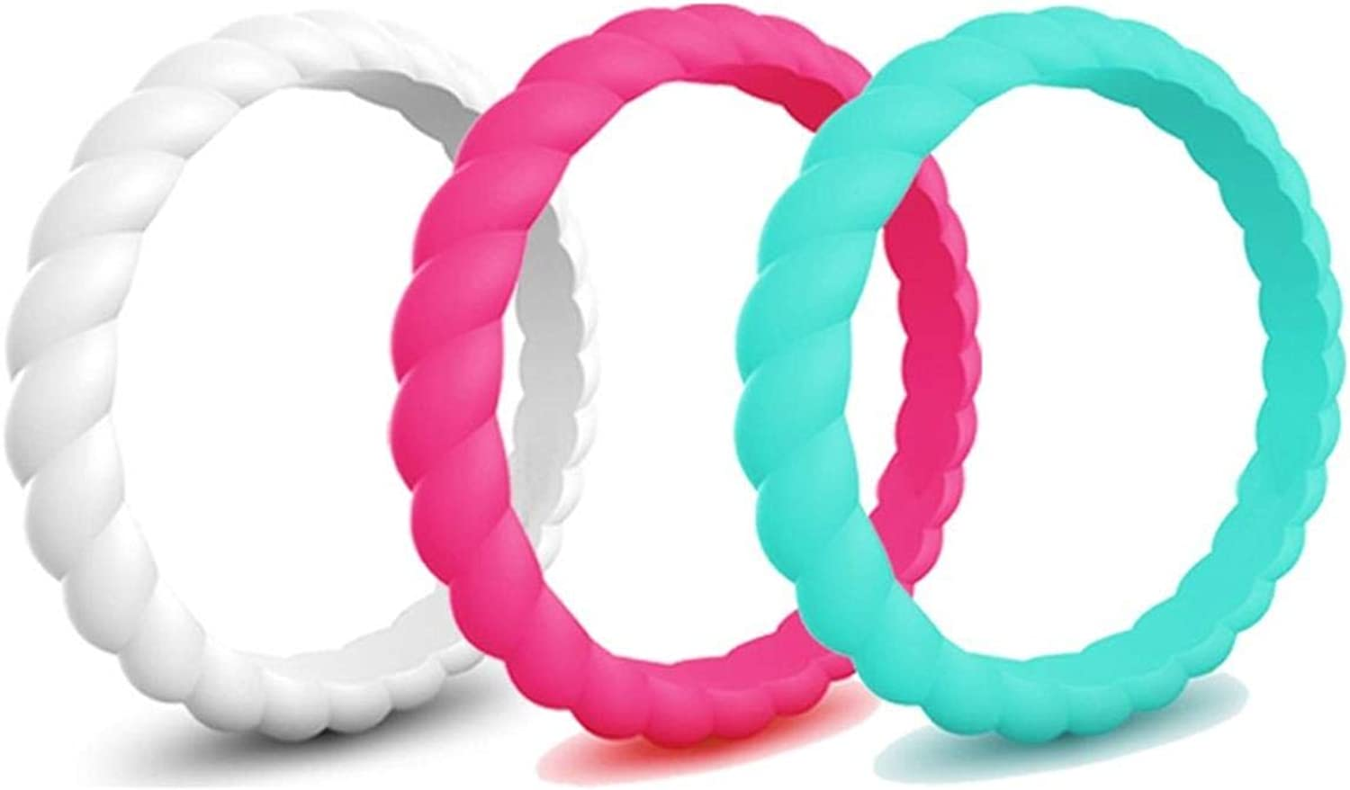Caiyao 3 Pcs Silicone Wedding Ring Thin Rubber Wedding Bands Stackable Braided Ring Fashion Colorful Athletic Ring Sets Comfortable Fit Skin Safe Affordable Braided Silicone Wedding Bands for Women