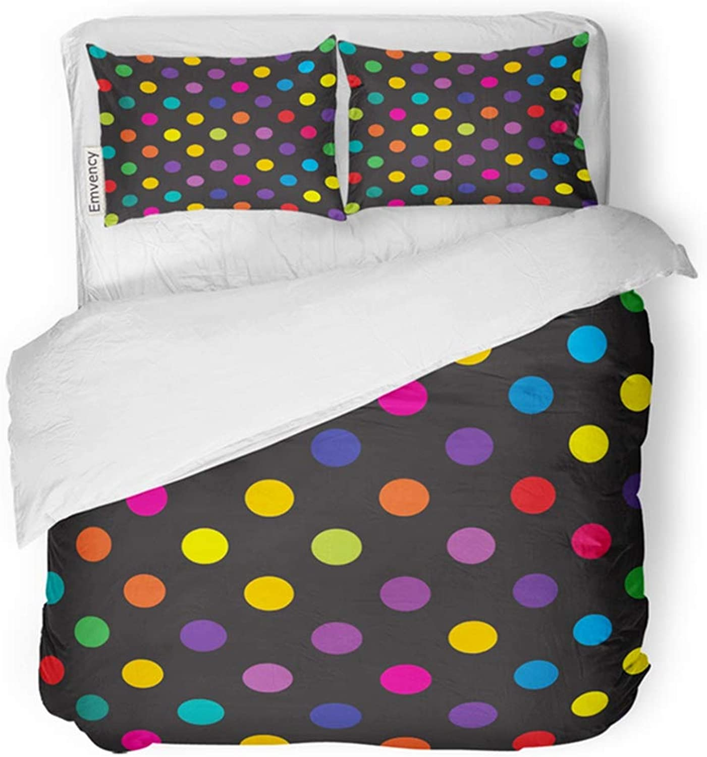 Emvency Bedding Duvet Cover Set Twin (1 Duvet Cover + 1 Pillowcase) Backround Retro Inspired Youthful Polka Dot Pattern in Candy colors Fun Hotel Quality Wrinkle and Stain Resistant