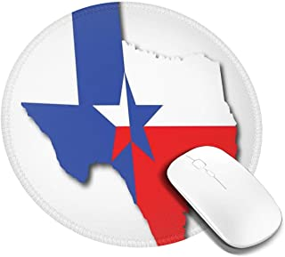 Round Mouse Pad,Outline of The Texas Map American Southwest Austin Houston City,Non-Slip Gaming Mouse Mat,2 PCS