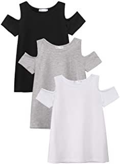 Arshiner 3 Pack Girls Crew Neck Tee Casual Soft Short-Sleeve T-Shirt Tops with Cold Shoulder