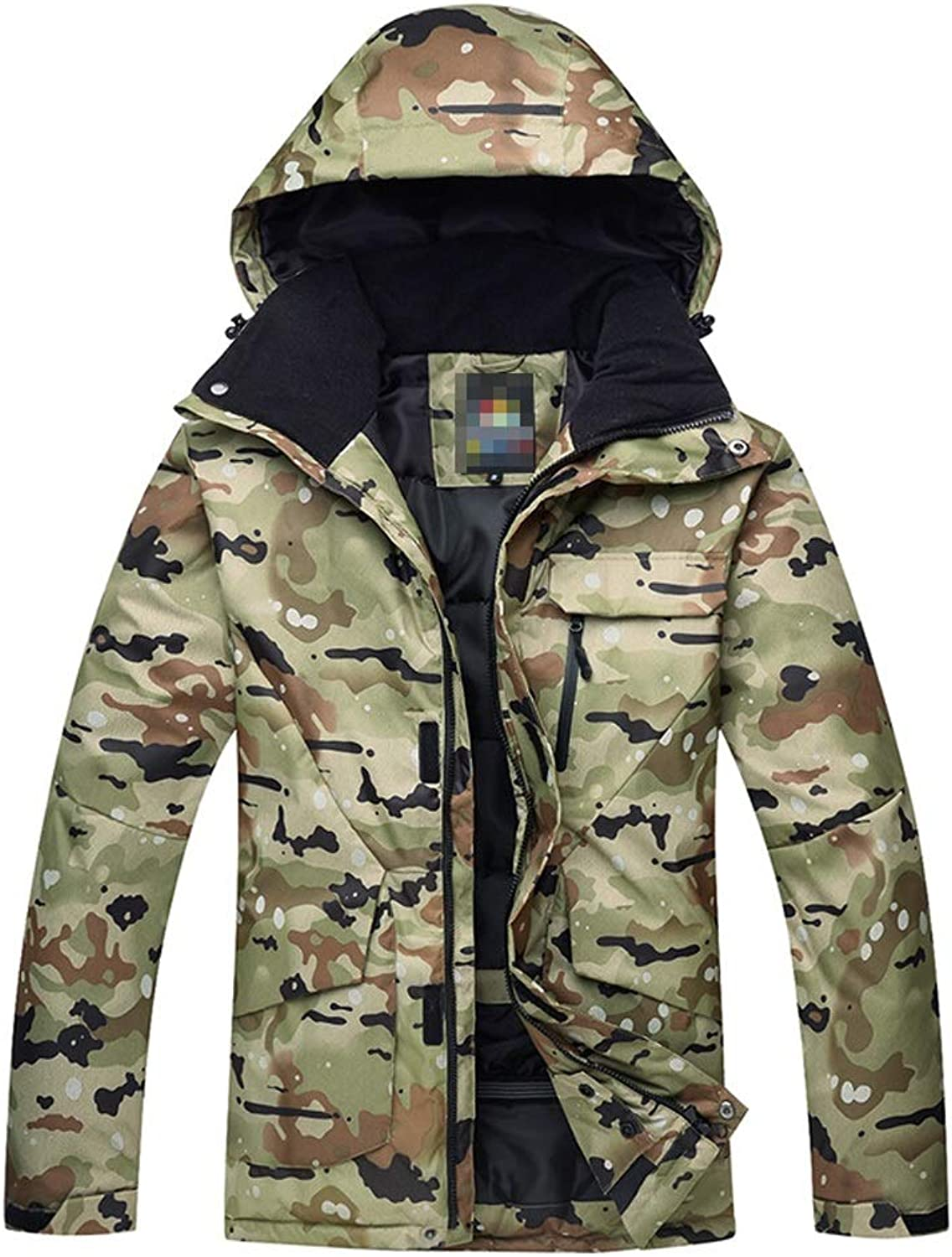 Khaki Camouflage Snowboard Coat with Hood, Breathable Warm,Comfortable and Warm