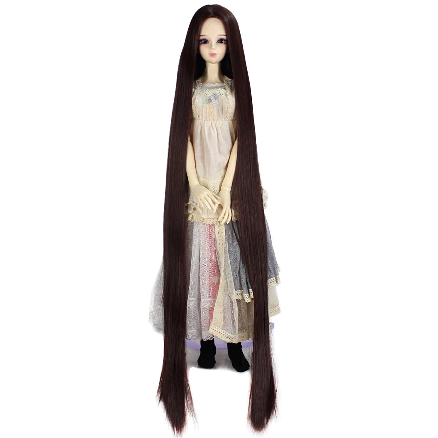 Miss U Hair 9-10 Inch 1/3 Extra Long Straight Hair BJD MSD DOD Pullip Dollfie Doll Wig Not for Human (Dark brown)