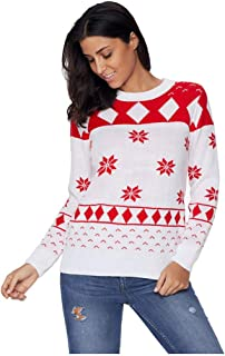 charmsamx Women Plus Size Round Neck Christmas Ugly Sweater Xmas Plaid Snowflakes Knitted Pullover Jumper Long Sleeves Christmas Tops