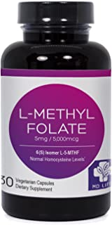 MD.LIFE L-Methylfolate|5-MTHF| 5 Miligrams| 30 Capsules| Metabolically Active Form of Folic Acid|