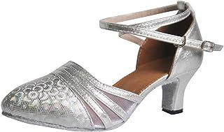 Tanzschuhe Damen Silber, Dasongff Damen High Heel Schuhe Salsa Tango Modernes Ballrom Latein Tanzschuhe Latin Dance Damenschuhe Glattleder Ballsaal 5cm