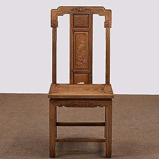 L-WSWS Silla de comedor de la vendimia silla de comedor de madera maciza Clásica tallada Tumbona adecuados Sillas de Ministerio del Interior de cocina (Color: Marrón, Tamaño: 45x42x102cm) Sillas