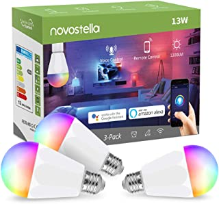 Novostella 13W 1300LM Smart LED Light Bulbs, WiFi RGBCW 2700K-6500K Dimmable Multicolor Bulb, A19 E26, 120W Equivalent Color Changing Bulb, No Hub Required, Compatible with Alexa, Google Home, 3 Pack