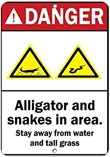 LUCY PARSONS Danger Alligator Snake! Stay Away from Water and Tall Grass - Notice Sign 12x16 inch Tin Sign
