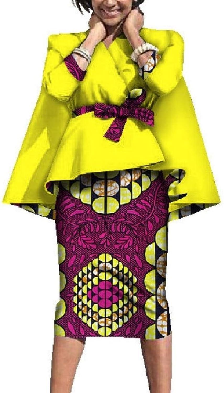 Abetteric Women's Dress Suit Long Sleeve Tops Dashiki Graphic Evening Skirt