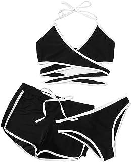 e5495938c30ddb DIDK Damen Wickel Bikini Set mit Short 3 Piece Neckholder Schwimwear  Bademode