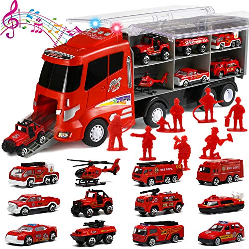 20 in 1 Die-cast Fire truck with Realistic Engine Sounds and Flashing Headlights, Toy Car Play Firetruck Vehicles in Carrier Truck with Firefighter Toy Set, Birthday Gift for 3 Years Old Boy Girl