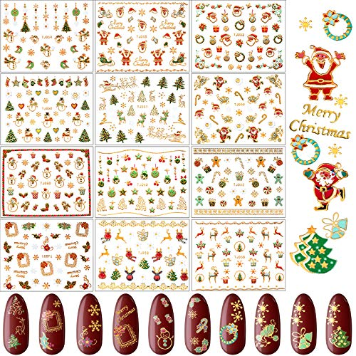 12 Sheets Christmas Nail Art Stickers 3D Metal Design Self-Adhesive Nail Decals Snowflakes Snowmen Santa Xmas Tree Nail Art Stickers for Women Girls Kids Manicure DIY or Nail Salon