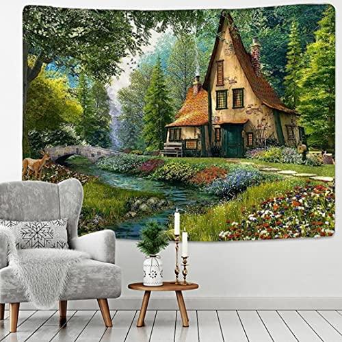 150x130cm hogar cuento de hadas cabaña bosque tapiz colgante de pared Bohemia arte estampado tapiz habitación decoración del hogar patrón hippie