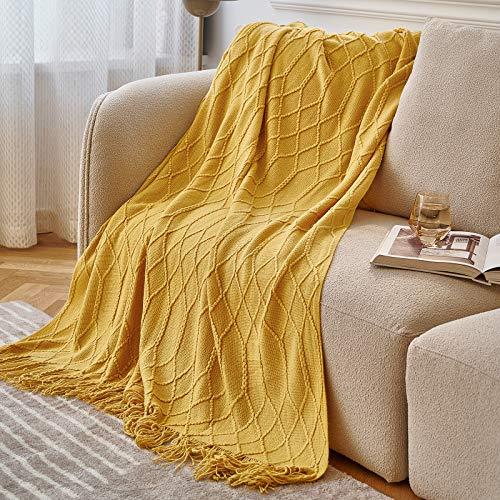 """NEERYO Knitted Decorative Blanket Textured Acrylic Solid Soft Sofa Throw Couch Cover Cozy Plush Lightweight Throw Size Blanket for Couch Bed All Season Diamond 50""""x60"""" Yellow"""