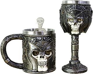 Armour Skull Mug Goblet Spoon Set of 3 With Stainless Steel - Skull Warrior Tankard Viking Skull Beer Mug Gothic Helmet Drinkware Christmas Gifts Father's Day Gift
