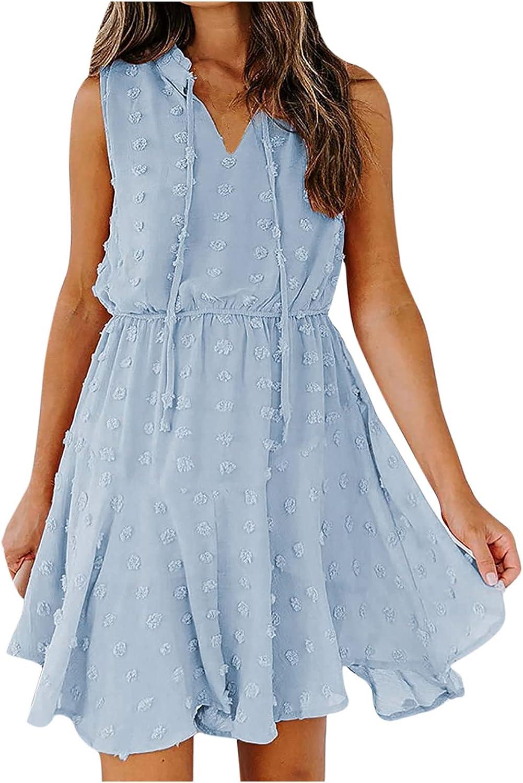 Weiheng Summer Dress for Women Chiffon Pom V-Neck Solid Sleevless Drawstring Short Skirt Mini Tank Dress