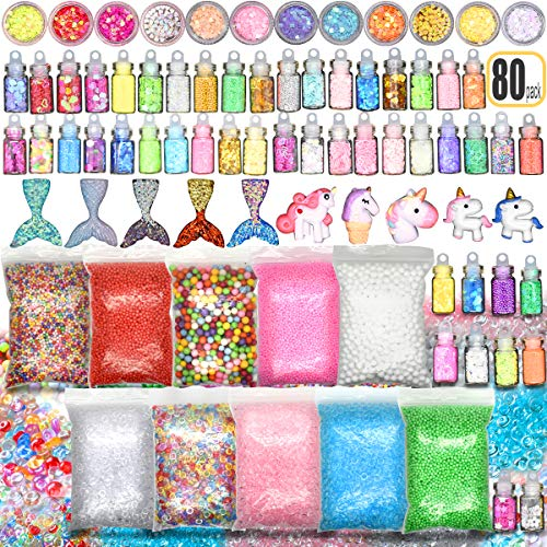 Hulluter Slime Stuff Slime Add Ins Fish Bowl Beads Floam Beads Ingredients Mermaid Unicorn Slime Charms Glitter Jar Slime Kit 80 PCS