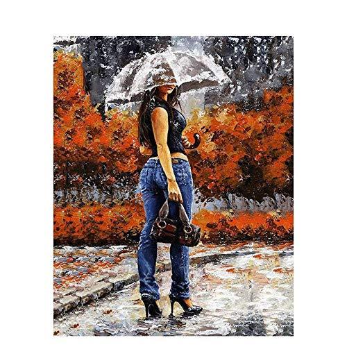 DIY Vorgedruckt Leinwand-Ölgemälde Mädchen Regenschirm Malen Nach Zahlen für Erwachsene Kinder Gemälde auf Kits Geschenk Handgemalt Kunst Home Dekor (Ohne Rahmen) 16x20 Zoll